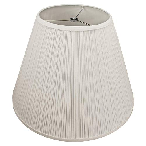 """FenchelShades.com Lampshade 9"""" Top Diameter x 18"""" Bottom Diameter x 13"""" Slant Height with Washer (Spider) Attachment for Lamps with a Harp (Pleated Cream)"""