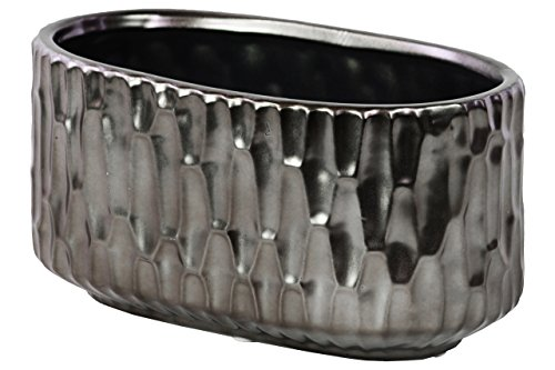 Urban Trends Ceramic Stadium Shaped Vase with Embossed Hexagonal Design in Matte Black Chrome Finish, Silver (Shade Hexagonal Shaped)