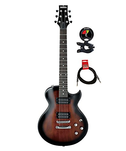 Ibanez GIO ART GART60WNS 6 Strings Electric Guitar Package with Clip on Guitar Tuner and Instrument Cable (Walnut Sunburst)