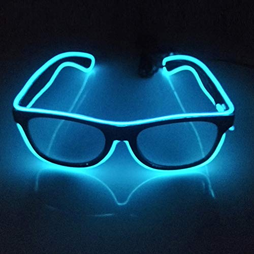 Glaray Light Up LED Glasses Novelty Luminous Glasses Adjustable EL Wire Neon Rave Eyeglasses (Blue)]()