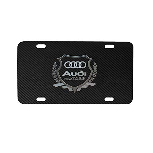 (Audi Logo Black Stainless Steel Front License Plate with Carbon Fiber Grain, with Screw Caps Cover Set Suit,Applicable to US Standard car License Frame. (Audi) )