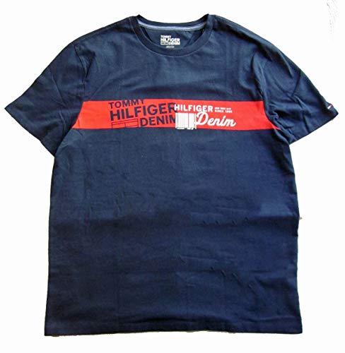 Tommy Hilfiger Mens Classic Fit Big Logo T-Shirt (Medium, Barcode Navy Denim)