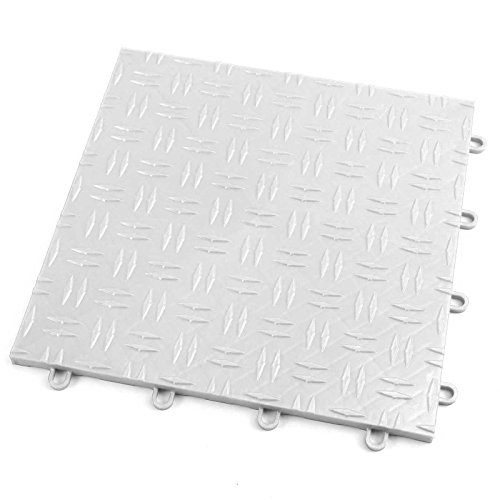 IncStores Diamond Grid-Loc Garage Flooring Snap Together Mat Drainage Tiles (12 Tile Pack - Arctic White)