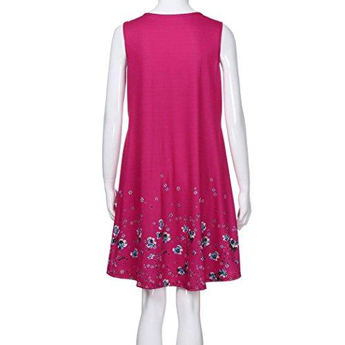 Huhu833 Damen Kleid Damen Lässige Blumen Bedruckt Boho TShirt ...
