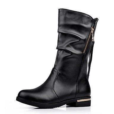 tacón polipiel Zipper Botas mujer Brown BFalta oscuro Comfort vestir de casual Dark invierno bajo marrón Borla w4wqI0Ap
