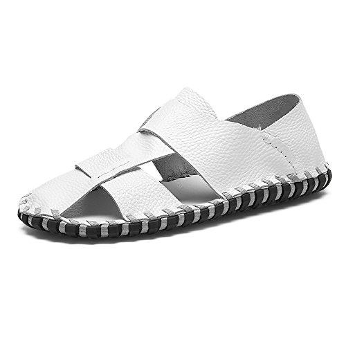 per piedi la a scarpe piatte sandali Mens morbide a punta shoes antiscivolo EU vera escursioni 2018 in 40 uomo Dimensione Suture Color da Bianca spiaggia chiusa pelle all'aperto Tq7WaPBvw
