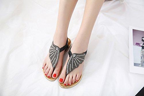 Ruiren Women Rhinestone Flat Sandals,Summer Beach Flip-Flops Shoes for Ladies Black