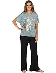 Jess & Jane Womens Mono Flower Mineral Washed Cotton Contrast Tunic Top