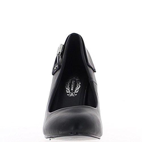 Escarpins noirs à talons fins de 9,5cm décor strass