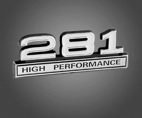 (281 4.6L V8 High Performance Emblem with White & Chrome Trim)