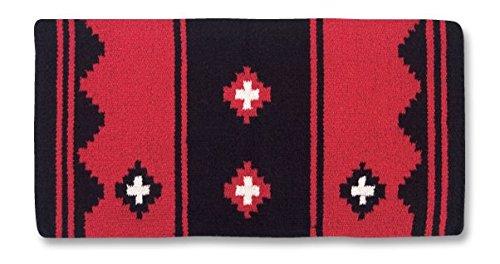 Mayatex Apache Saddle Blanket, Red/Black/White, 36 x 34-Inch (Red Saddle Pad)