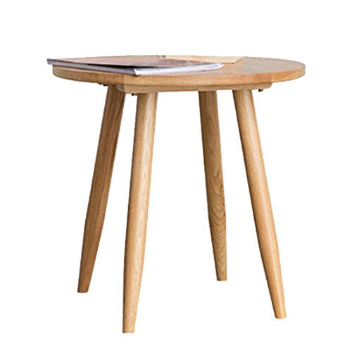 - Metcandy Round Solid Wood Coffee Table Round Side Collision Living Room Bedroom Sofa Table Laptop Table Simple Flower Stand,White Oak,?40H39cm