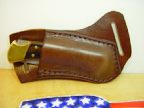 Leather Buck 110 or 112 Knife Sheath (Light Brown) RIGHT-HAND Draw. The Genuine Water Buffalo Leather Is Very Soft and Pliable that will last a very long time.