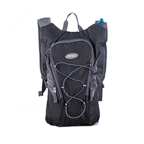 Pinty Waterproof Ripstop Hydration Backpack Pack with 2L (0.5 Gallon) Water Bladder for Hikers, Bikers, Joggers, Campers (Black) (Jogger Water)