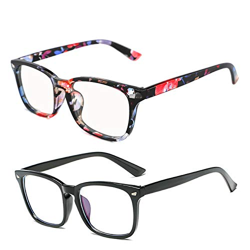 Blue Light Blocking Glasses 2 Pack Anti Eye Strain Minimize Headache UV Blocking Computer Reading Gaming Eyeglasses, Men/Women (Black&Flower)