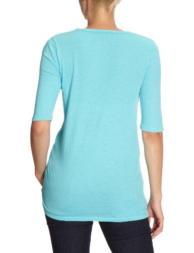 Bobi - Camiseta con cuello redondo de manga 3/4 para mujer Turquesa (Barbados)
