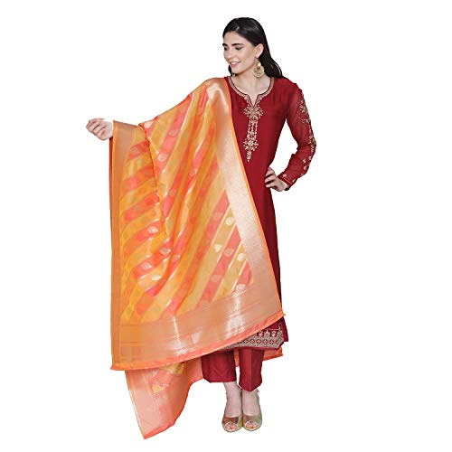 (PinkShink Women's Readymade Red Satin Indian/Pakistani Salwar Kameez with Banarasi Silk Dupatta)