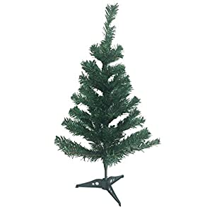 2 Ft Tall Aritificial Pine Green Christmas Tree with Plastic Tree Stand 3