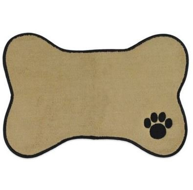Bone Shape Embroidered Pet Feeding Placemat Brown by Bone Dry