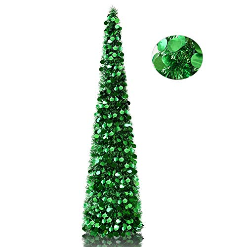 (YuQi 5' Green Tinsel Pop-Up Artificial Christmas Tree,Collapsible Pencil Christmas Trees Features Sequins Accents for Apartments,Dorm Rooms,Fireplace or Party)