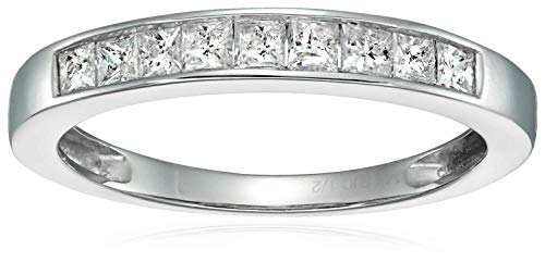 (1/2 cttw Princess Cut Channel Diamond Wedding Band 14K White Gold Size 4.5)