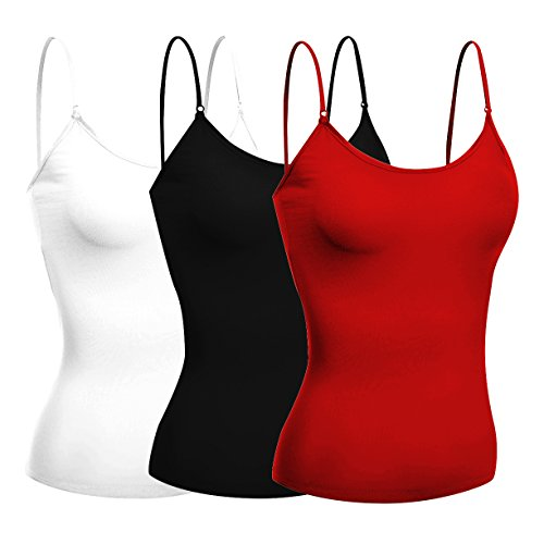 (Emmalise Women's Camisole Built in Bra Wireless Fabric Support Short Cami (3Pk Black, Red, White,)
