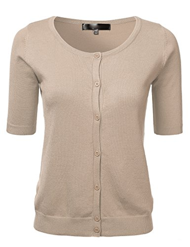 (Womens Button Down Fitted Short Sleeve Fine Knit Top Cardigan Sweater Taupe M)