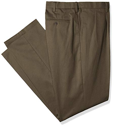 Dockers Men's Big and Tall Classic Fit Signature Khaki Lux Cotton Stretch Pants - Pleated D3, Dark Pebble, 42 36 (Mens Casual Pants Wrinkle Free)