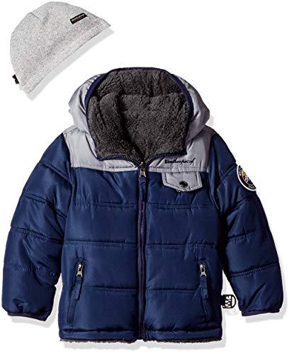 Weatherproof Boys' Toddler Reversible to Sherpa Fleece Jacket, Navy/Charcoal, 3T