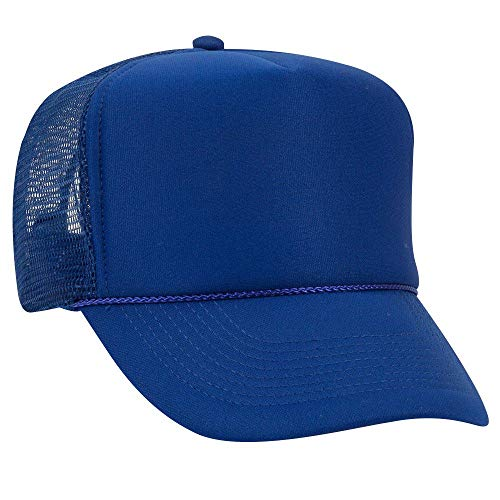 OTTO Polyester Foam Front 5 Panel High Crown Mesh Back Trucker Hat - Royal