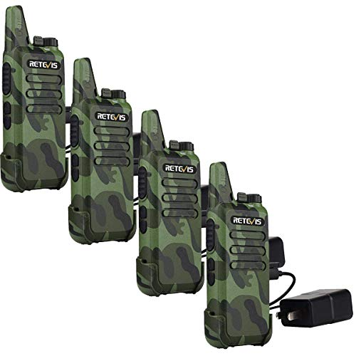 Retevis RT22 Walkie Talkies Rechargeable Voice Activated Channel Lock Scan Emergency Alarm Outdoor Cruise Ship Walkie Talkies Two Way Radio(4 Pack)