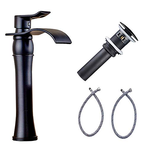 Votamuta Waterfall Spout Single Handle Bathroom Sink Vessel Faucet Basin Mixer Tap, ORB Oil Rubbed Bronze Lavatory Faucets Tall Body with Pop Up Drain (Basin Tap)