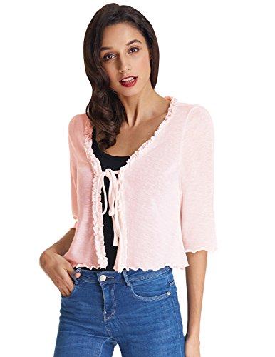 (Basic Lightweight Bolero Shrug Jacket Cardigan Light Pink Size XL)