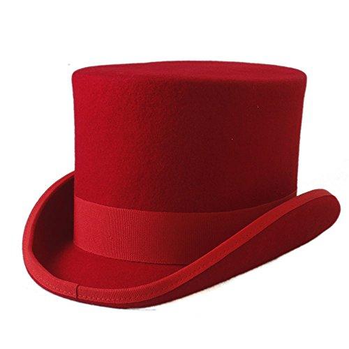 ZLQ Steampunk Mad Hatter Top Hat Victorian Vintage Traditional Wool Fedoras Hat Cylinder Hat Chimney Pot Hat Top Hat (Color : Red, Size : 55CM)