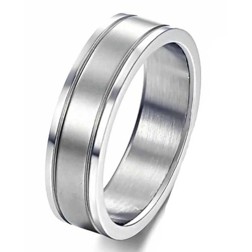 MoAndy Jewellery Stainless Steel Men's Wedding Rings,White,US Size 7