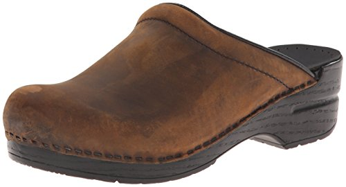 Dansko Women's Sonja Oiled Leather Clog,Antique Brown/Black,39 EU/8.5-9 M US ()