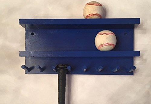 Baseball Bat Wall Mount Display Rack Wood Blue 7 Full Size Bats 8 Balls Holder by MWC