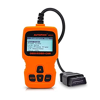 OM123 Vehicle Car Fault Code Reader - PerryLee Mini Portable LCD OBDMATE OBDII OBD2 EOBD+CAN Scan Scanner Tool Car Vehicle Auto Engine Trouble Analyzer Tester Diagnostic Code Scanner Tool Orange by PerryLee