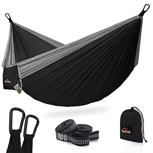 AnorTrek Camping Hammock, Super Lightweight Portable Parachute Hammock with Two Tree Straps (Each Two Loops), Single & Double Nylon Hammock for Camping Backpacking Travel Hiking (Black&Gray) ()