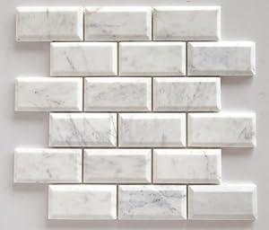 Bianco Venatino Marble 2X4 Deep Beveled Polished Subway Tile