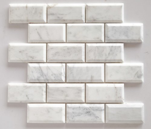 Bianco Venatino Marble 2X4 Deep - Beveled & Polished Subway Tile - STANDARD QUALITY - Lot of 20 Sheets by Oracle Tile & Stone