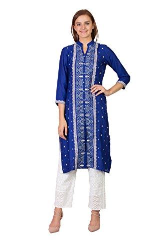 SABHYATA Women Kurta Designer Ethnic Long Dress Casual Tunic Kurti for Women Ladies Partywear Material 100% Pure Rayon Chinese Collar Small R.Blue