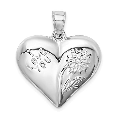 925 Sterling Silver Floral Heart Pendant Charm Necklace Love Puffed Fine Jewelry Gifts For Women For Her (Puffed Sterling Heart Silver Locket)