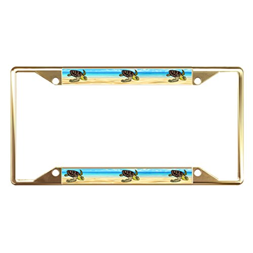 Fastasticdeals SEA Turtles Animal Metal License Plate Frame Tag Holder Four Holes Gold (Sea Animal License Plate Frame)