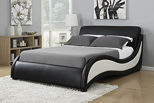 (Coaster Home Furnishings 300170Q Upholstered Bed, Black/White )