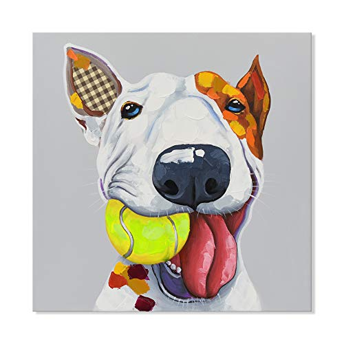 SEVEN WALL ARTS - Modern Hand Painted Abstract Animal Cute Bull Terrier Dog Plays Tennis Painting with Stretched Frame for Home Decor 32 x 32 Inch