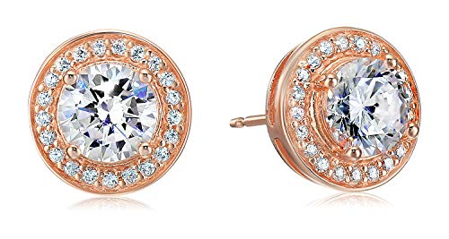 Gold Jewelry Collection (Amazon Essentials Rose Gold Plated Sterling Silver Cubic Zirconia Halo Stud Earrings)