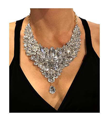 Nataliya Short Collar Crystal Statement Jewelry Set (Silver Crystal Flower bib Choker Necklace) by Nataliya