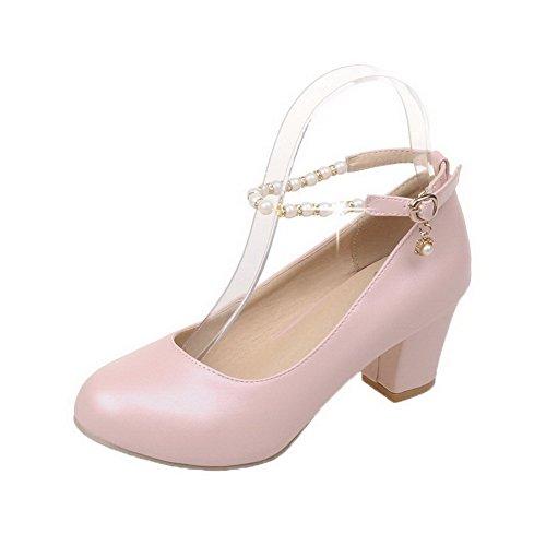 Amoonyfashion Damesgesp Ronde Neus Hak-hakken Pu Stevige Pumps-schoenen Roze