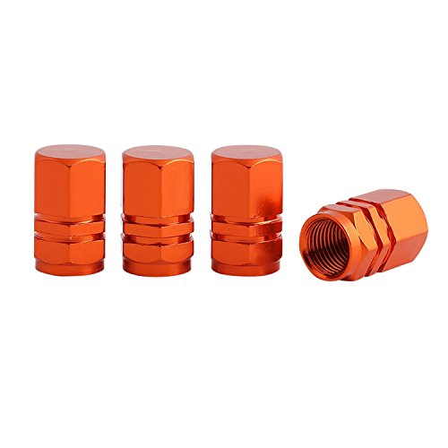Threethreetwo Stylish Anodized Hexagon Car Tire Valve Stems Cap Set ( 4pcs = 1 set) 10 Color Options (Orange) (Stylish Stems)